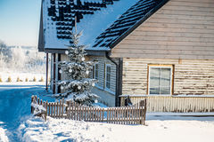 Wooden house at Christmas Stock Photography