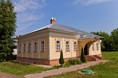 Wooden house (circa XIX c.)  in Dmitrov kremlin, Russia Royalty Free Stock Images