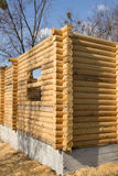 Wooden house construction. Stock Photo