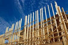 Wooden house construction Stock Photo