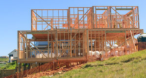 Wooden house construction, building homes in New Zealand Stock Photo