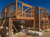 Wooden house construction, building homes in New Zealand Stock Photos