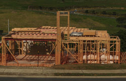 Wooden house construction, building homes in New Zealand, Auckland, New Zealand Stock Image