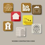 Wooden house construction icon set royalty free illustration