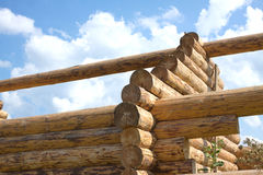 Wooden house construction from logs closeup Stock Photography