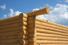 Wooden house construction from logs Royalty Free Stock Images