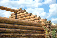 Wooden house construction from logs side view closeup Stock Photography
