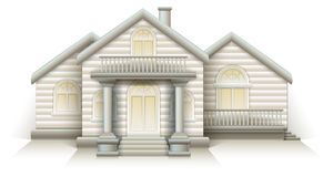 Wooden House Cottage layout vector  House with front door columns and stairs. Wooden House Cottage layout vector Royalty Free Stock Images