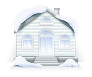 Wooden house cottage in the snow Christmas House with front door columns and stairs. Wooden house cottage in the snow Christmas Royalty Free Stock Photo