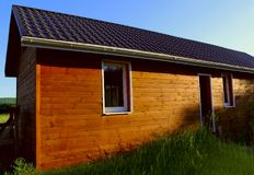 Wooden house in countryside. Stock Photo