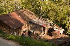 Wooden house in countryside of Macedonia royalty free stock image