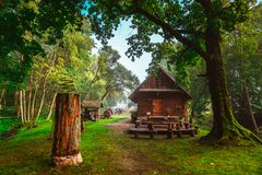 Wooden house in countryside. Spring nature stock photo