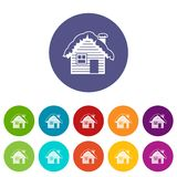 Wooden house covered with snow set icons Stock Photos