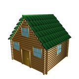 Wooden house, 3d illustration Stock Photography