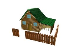 Wooden house, 3d illustration Royalty Free Stock Photography
