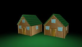 Wooden house, 3d illustration Stock Photos