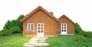 Wooden house. A 3D illustration of a wooden house on a green loan royalty free stock photos