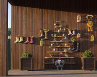 Wooden house decorations Stock Photos