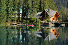 Wooden house at Emerald Lake, Yoho National Park, Canada Stock Photo