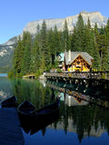 Wooden house at Emerald Lake, Yoho National Park, Canada Stock Photos