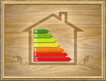 Wooden house with energy efficiency graph Stock Photography