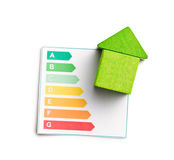 Wooden house with energy efficiency levels Stock Images