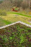 Wooden house with extensive green living roof covered with vegetation. Wooden house with extensive green ecological living sod roof covered with vegetation stock image
