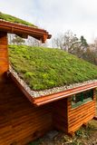 Wooden house with extensive green living roof covered with vegetation. Wooden house with extensive green ecological living sod roof covered with vegetation stock images