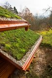 Wooden house with extensive green living roof covered with vegetation. Wooden house with extensive green ecological living sod roof covered with vegetation royalty free stock photo