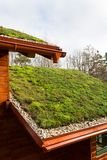 Wooden house with extensive green living roof covered with vegetation. Wooden house with extensive green ecological living sod roof covered with vegetation stock photo