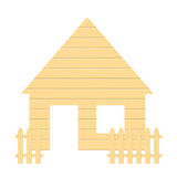 Wooden house. Wooden house with a fence,  on white background. Vector illustration Royalty Free Stock Photography
