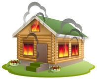 Wooden house fire. Wooden home burning. Insurance of property Stock Image