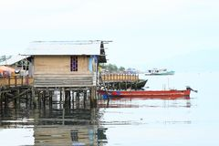 House above sea in Manokwari Stock Image