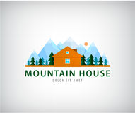 Wooden house flat design vector illustration. Logo for company trademark. House logo at the foot of the mountain, icon for the real estate company Royalty Free Stock Photos