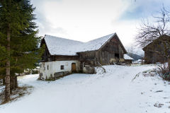 Wooden house in forest at Austrian Alps Royalty Free Stock Images