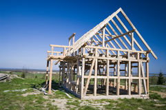 Wooden house frame Royalty Free Stock Images