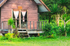 Wooden house and garden architecture design Royalty Free Stock Photos
