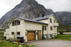Wooden house with garden in Norway Royalty Free Stock Photography