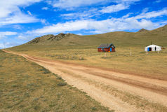 A wooden house and a ger in Mongolia. A traditional yurt or ger (Mongolian) is a portable, round tent covered with skins or felt used as a dwelling by nomads in Royalty Free Stock Photography