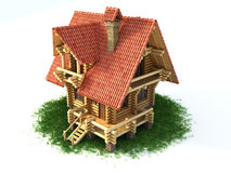 Wooden house on grass 3d illustration Stock Image
