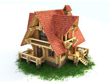 Wooden house on grass 3d illustration. Isolated on white Stock Photography