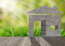 Wooden house on green grass field in morning ,environmen. Wooden house on green grass field in morning sunlight,environment concept Royalty Free Stock Photos