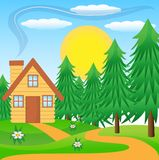 Wooden house on a green lawn near the forest. Vector illustration Stock Photos