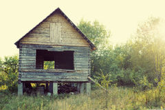 Wooden house in greens in beams of the sun Stock Photos