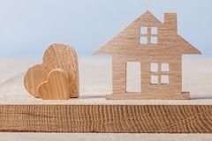 Wooden house and heart toys royalty free stock image