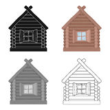 Wooden house icon in cartoon style  on white background. Russian country symbol stock vector illustration. Royalty Free Stock Photography