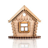 Wooden house icon isolated on white. Background Royalty Free Stock Photo