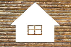 Wooden house icon on white Stock Images