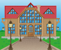 Wooden house  illustration Royalty Free Stock Photography
