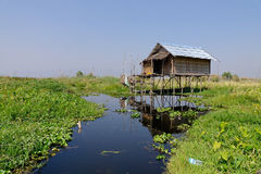 A wooden house in Inlay Lake, Myanmar Stock Image